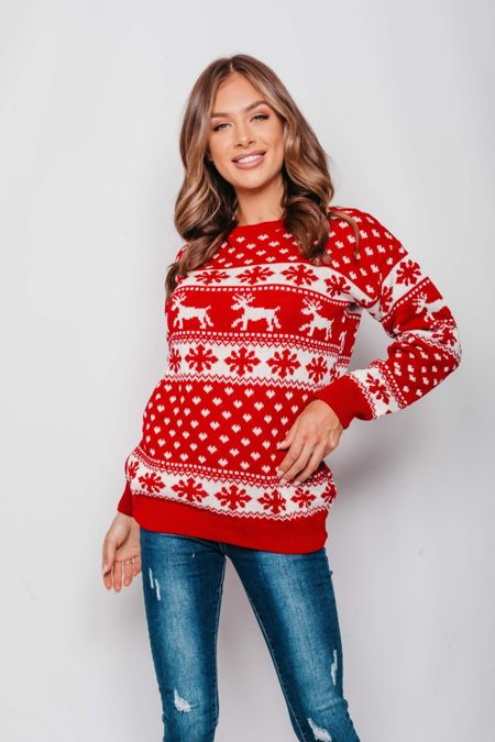 Red Reindeers and Snow Flake Christmas Jumper