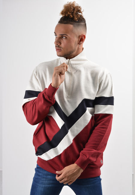Red Retro Spliced Panel Pullover Hoodie