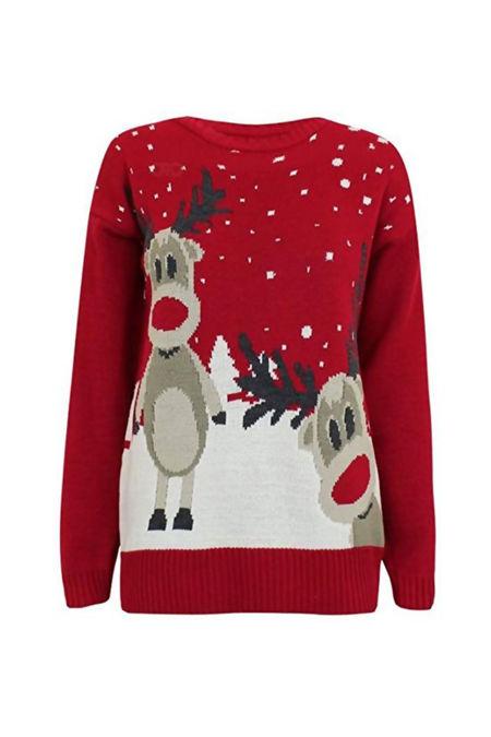 Red Rudolph Reindeer Print Snowflake Novelty Christmas Jumper