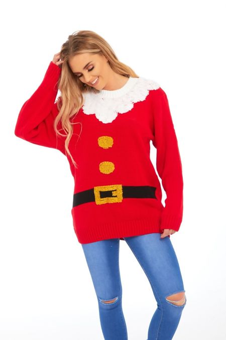 Red Santas Jacket Christmas Knitted Jumper