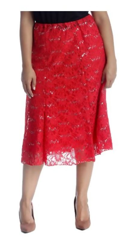 Plus Size Red Sequin Flared Skirt