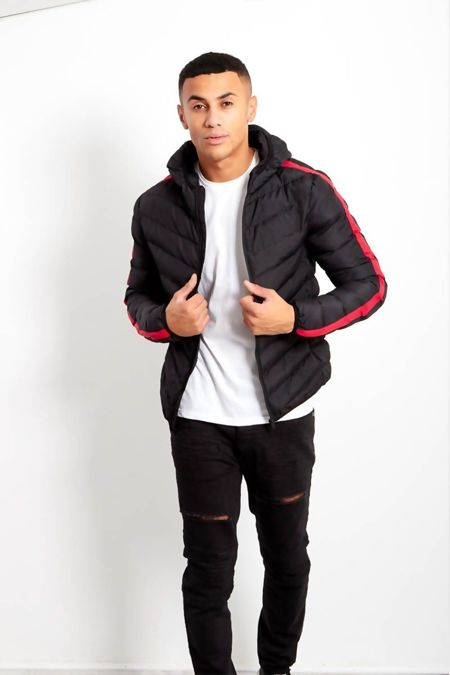 Red Stripe Padded Hooded Jacket