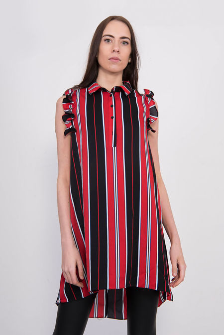 Red Striped Frill Sleeve Dip Hem Shirt Dress