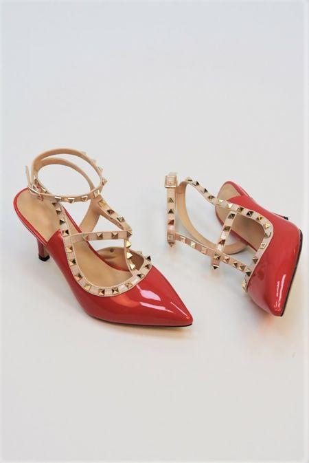 Red Studded Kitten Heels