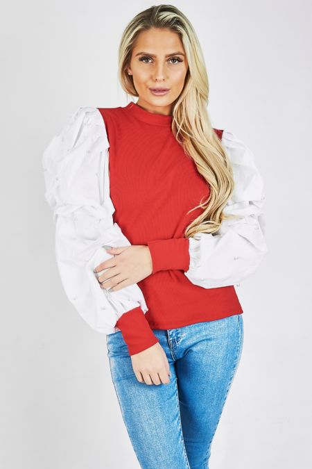 Red with White Pearl Puff Sleeve Top