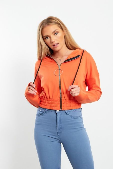 Red Zip Front O-Ring Cropped Jacket