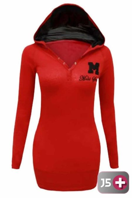 Plus Size Red Hooded Plain Cotton Jumper Top