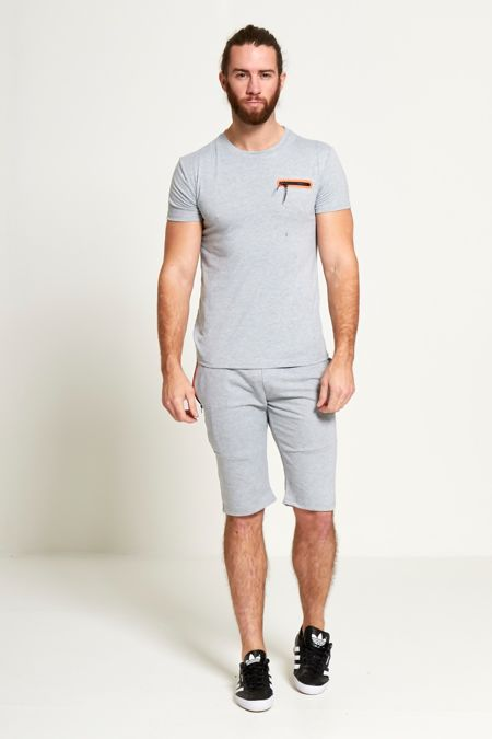 Grey Contrasting Zip Placket T-Shirt & Shorts Set