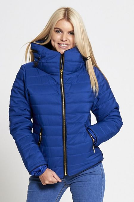 Royal Blue Quilted Padded Puffer Bubble Fur Collar Jacket