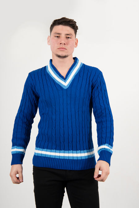 Royal Cable Knitted V Neck Cricket Jumper