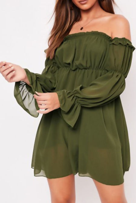 Ruched Frill Bardot Dress