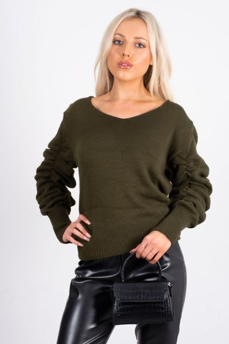 Khaki Ruched Sleeve Knitted Jumper