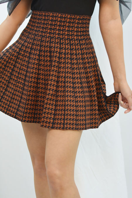 Rust And Black Printed Flare Skater Skirt