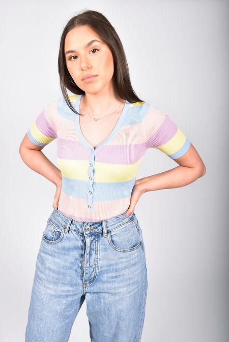 Rainbow Stripe Ribbed Button Bodysuit