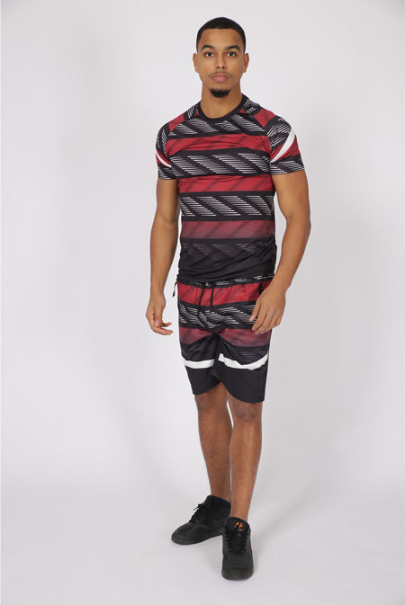 Red Abstract Striped Muscle Fit Short Set
