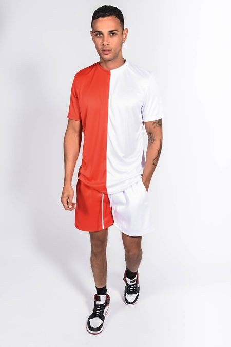 Red And White Colourblock Muscle Fit Short Set