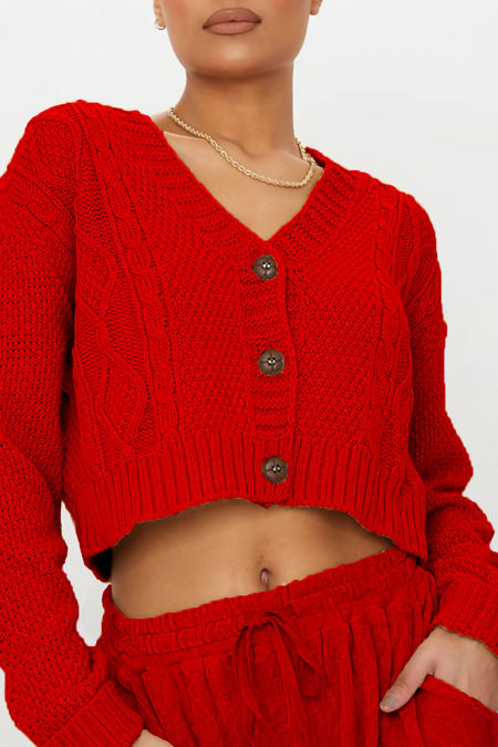 Red Cable Cropped Button Up Cardigan