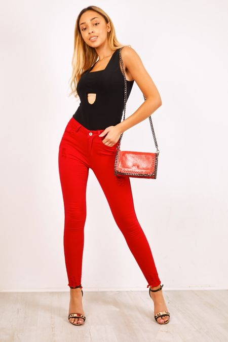 Red Distressed Denim Black Side Stripe Skinny Jeans