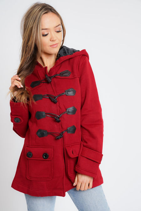 Plus Size Red Fleece Hooded Toggle Jacket