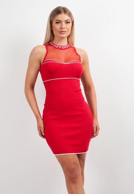 Red Glitter Mesh Chest Bandage Dress