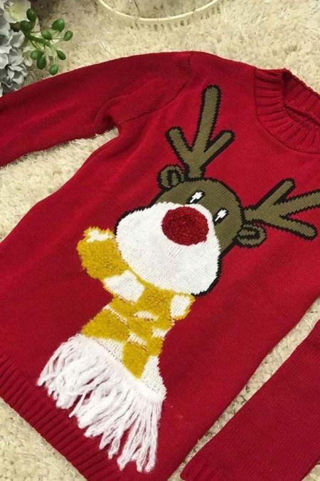 Red Kids Scarf Reindeer Knitted Christmas Jumper
