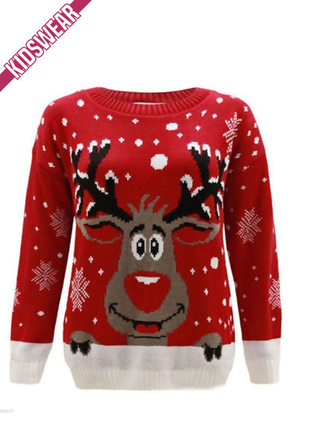 Red Kids X Reindeer Christmas Jumper