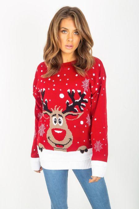 Red Plus Size Reindeer Christmas Jumper