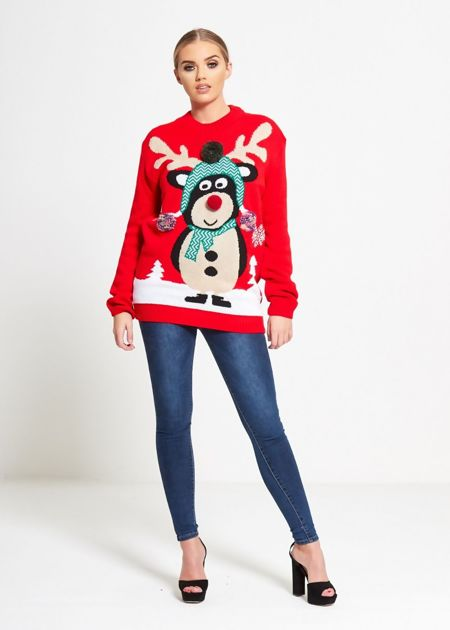 Red Pom Scarf Reindeer Knitted Christmas Jumper