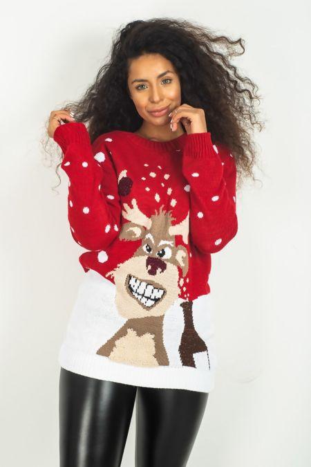Red Reindeer Glitter Pom Christmas Jumper
