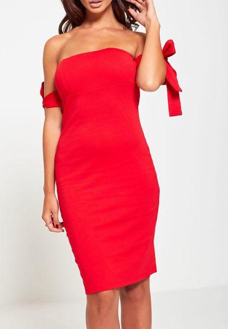 Red Sleeve Knot Bardot Dress