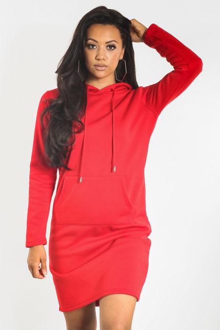 Red Sweat Hood Dress