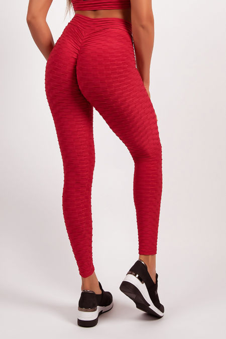 Red Textured Scrunch Butt Gym Leggings