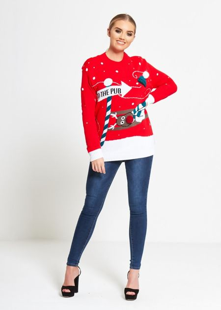 Red To The Pub Christmas Jumper