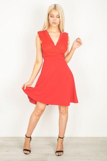 Red V Neck Mini Dress