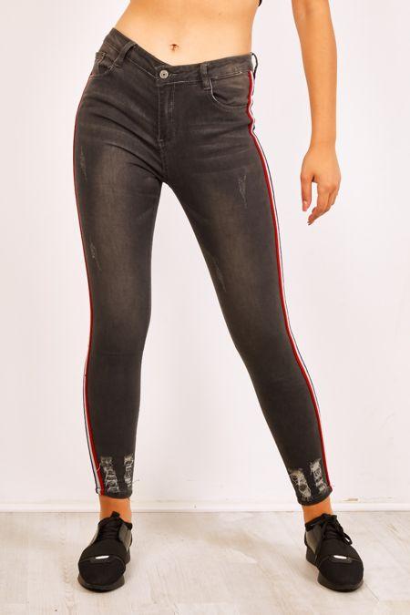 Red White And Navy Side Stripe Frayed Hem Skinny Jeans