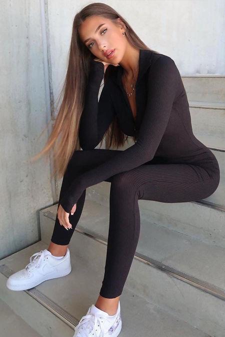 Black Ribbed High Neck Zip Front Jumpsuit