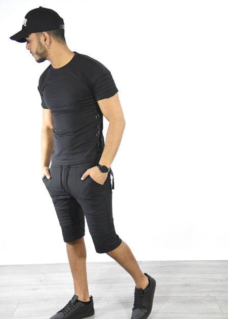 Black Ribbed Tee and Shorts Set