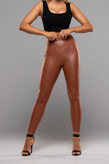 Rust Leather Look High Waist Leggings