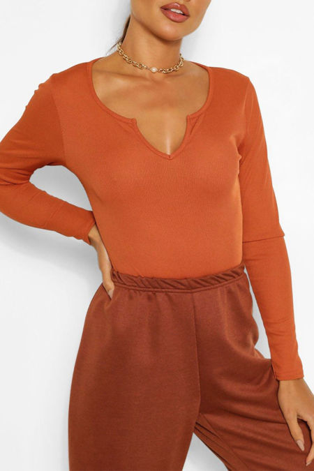 Rust Rib Notch Front Long Sleeve Bodysuit