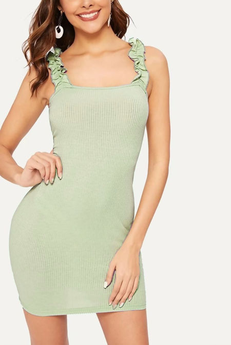 Sage Ruffle Strap Ribbed Bodycon Dress