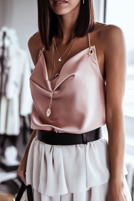 Dusty Satin Cowl Chain Halter Neck Top