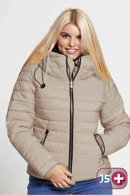 Plus Size Mocha Quilted Padded Bubble Puffer Fur Collar Jacket