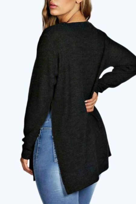 Side Split Moss Charcoal Knitted Jumper