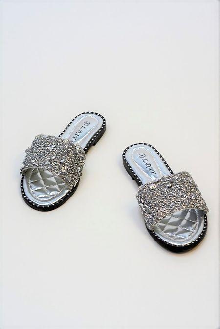 Silver Diamond Bedazzled Slider