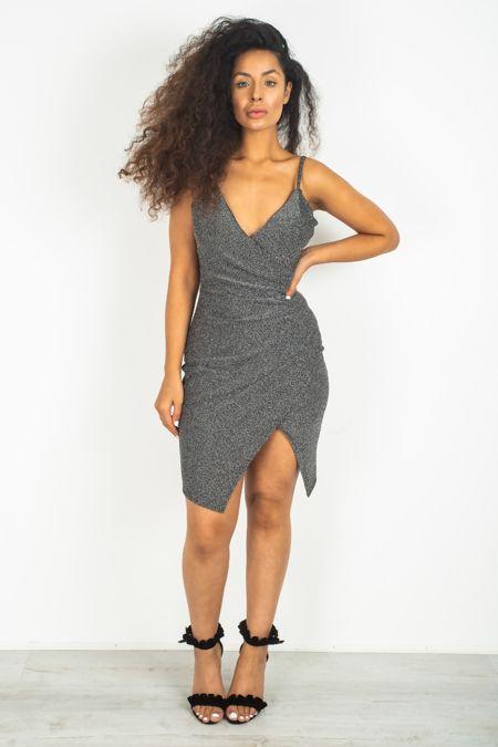 Silver Glitter Side Cut V Neck Dress