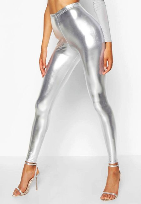 Silver Metallic Leggings