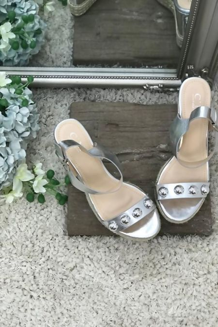 Silver Stud Espadrille Wedges