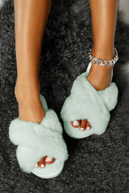 Sky Blue Fluffy Cross Over Slipper