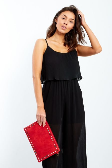Spaghetti Strap Pleated Floaty Jumpsuit