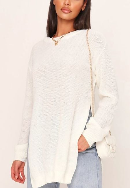 Cream Side Split Jumper